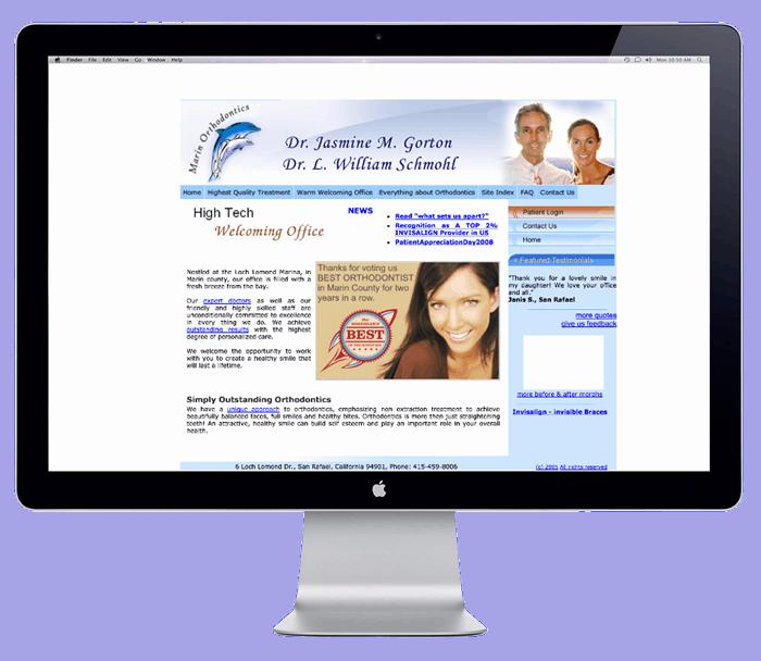 marin ortho website before blend website redesign