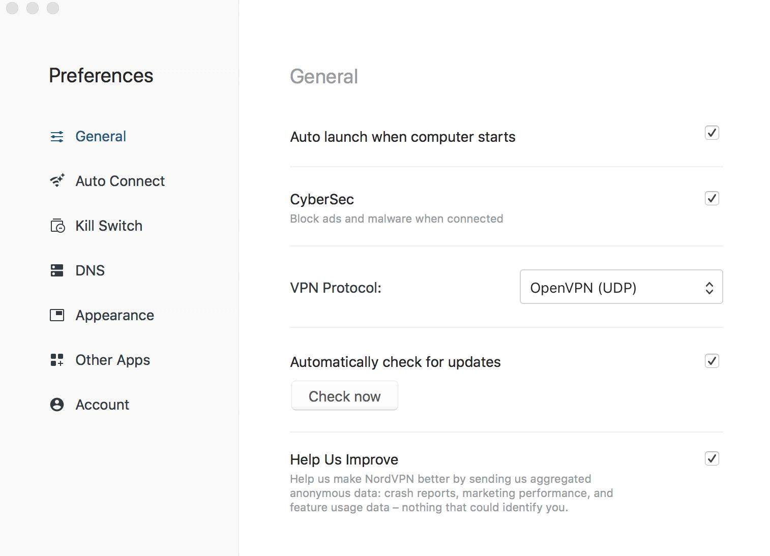 Virtual Private Network Preferences